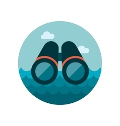 Flat icon of binoculars vector image