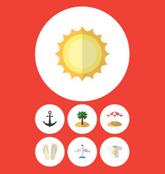 Flat icon summer set of beach sandals parasol vector