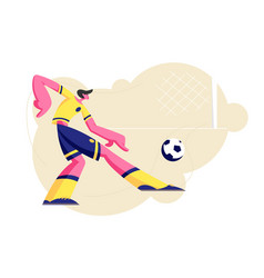 football player character in uniform kicking ball vector image