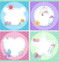 Four background designs with baby theme vector
