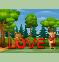 funny two bear on the red word love on the nature vector image