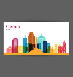 genoa city architecture silhouette colorful vector image