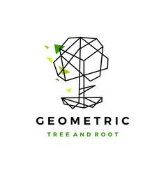 Geometric tree root polygonal tech logo icon vector