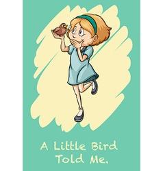 Girl holding a bird vector