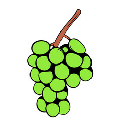 Green grape branch icon cartoon vector