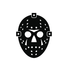 Halloween hockey mask black simple icon vector