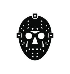 Halloween hockey mask black simple icon vector image