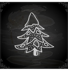 Hand Drawn Pine Tree with Snowfall vector