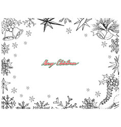 Hand drawn set of lovely merry christmas items fra vector