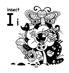 Hand drawnalphabet letter i-insect vector
