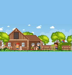 Happy family at rural house vector