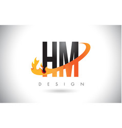 Hm h m letter logo with fire flames design and vector