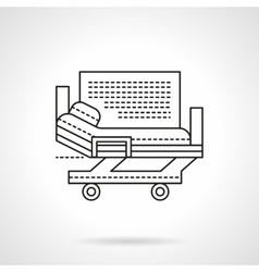 Hospital bed flat line icon vector