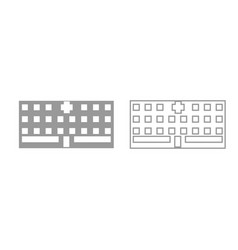 hospital grey set icon vector image