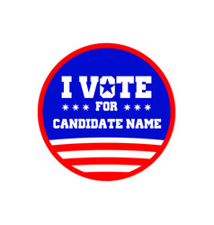 I vote for candidate name pin graphic design vector