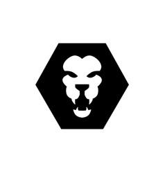 lion head hexagonal logo icon vector image