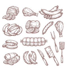 Meat sausages ham salami and butcher knife vector