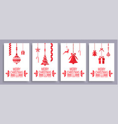 merry christmas and happy new year festive symbols vector image