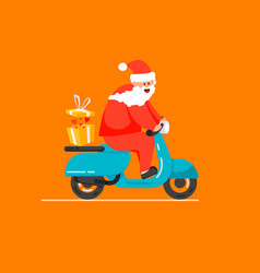 merry christmas santa is carrying gifts vector image