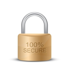 Metallic padlock 100 Secure vector