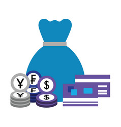 money bag bank credit cards coins yen dollar franc vector image