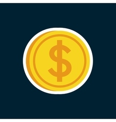 Money yellow coin vector