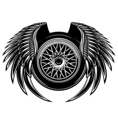 Monochrome pattern with wheel and wings vector