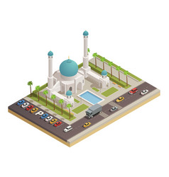 Mosque minaret building isometric composition vector