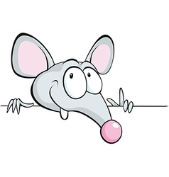 mouse peeking out from horizontal white desk vector image