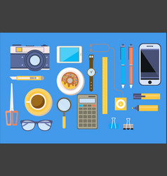 office various equipment mobile devices and work vector image