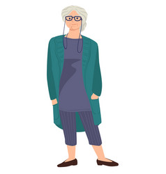 old woman with grey hair wearing eyeglasses and vector image