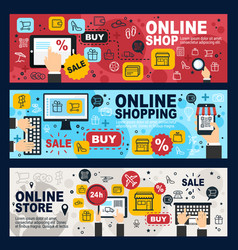 online shop e-commerce web store and retail vector image