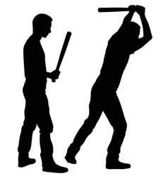 People silhouettes hitting with bats vector