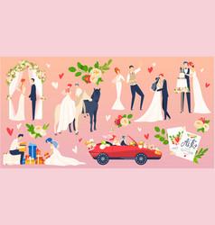 people wedding marriage flat vector image