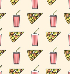 pizza slice soda cold drink paper cup colored vector image