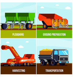 potato production flat design concept vector image