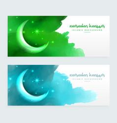 Ramadan banners design with moon vector