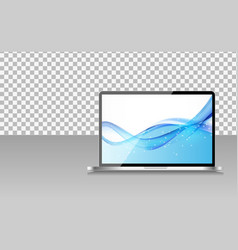 Realistic computer laptop with abstract wallpaper vector