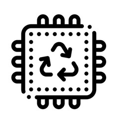 Recycle processor icon outline vector