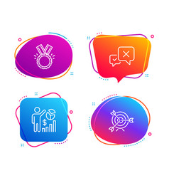 Reject honor and seo statistics icons set target vector