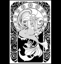 Retro mermaid poster vector