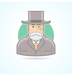 Richman wealthy old man banker icon vector