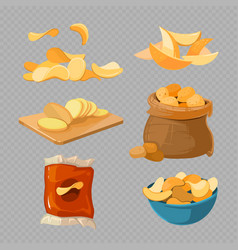 Salty fried potato chips snacks isolated on vector