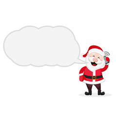 santa claus is talking on the phone a place for vector image