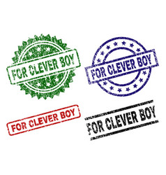 Scratched textured for clever boy stamp seals vector
