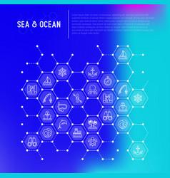 Sea and ocean journey concept in honeycombs vector