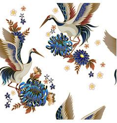 seamless pattern with mandarin ducks flowers vector image