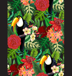 seamless pattern with tropic bird toucan vector image