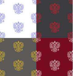 Seamless patterns with russian coat of arms vector