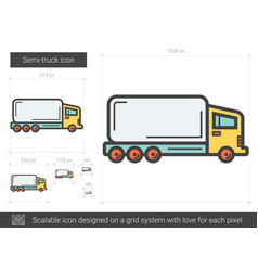 Semi-truck line icon vector